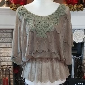 Flying Tomato sage green blouse, size M